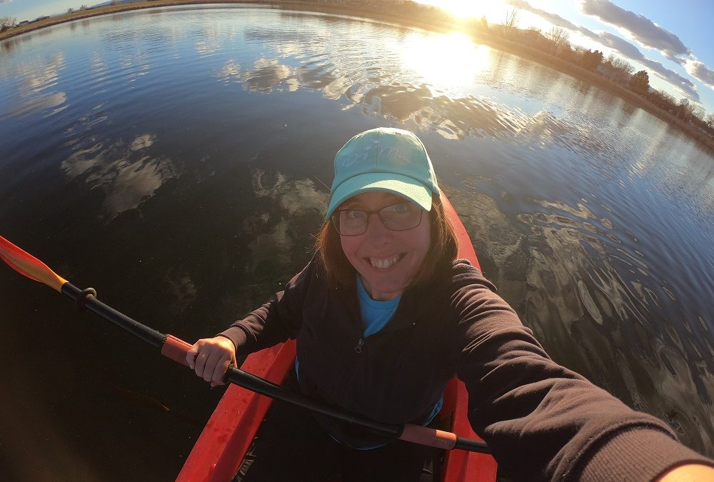 Monique kayaking on Cattail Pond